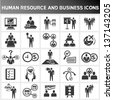 human resource and business icon set - stock photo