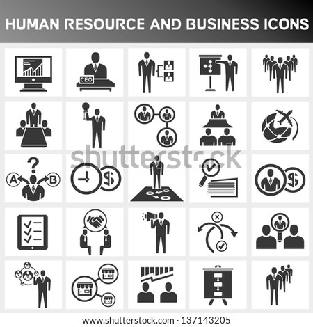human resource and business icon set - stock vector
