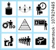human resource and organization management, icon set - stock photo