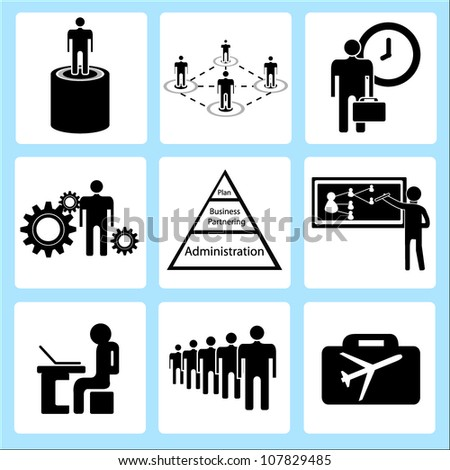 human resource and organization management, icon set - stock vector
