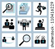human resource and recruitment icon set - stock photo