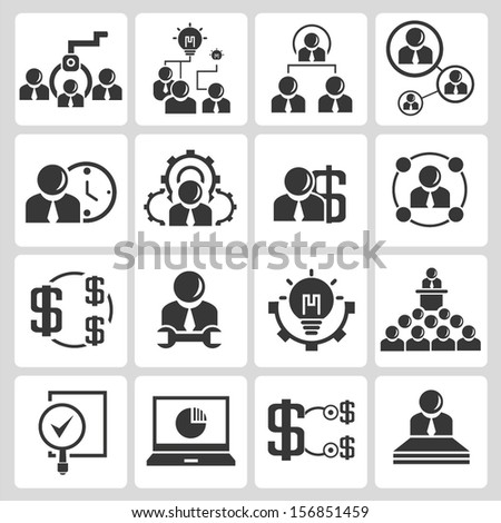 human resource and recruitment icons, business management icons set - stock vector
