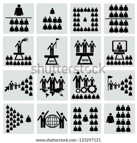 Human resource,computer,icon set,Vector - stock vector