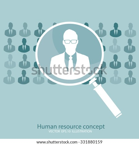 Human resource concept, magnifying glass searching people - stock vector