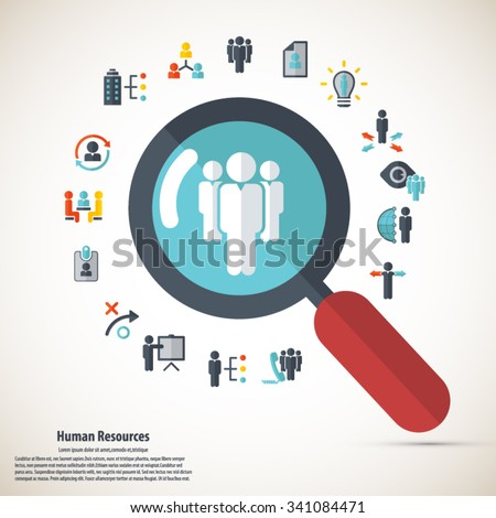 Human resource - conceptual background with human resource related icon set. - stock vector