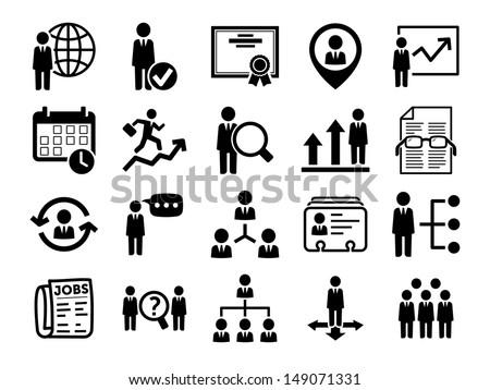 Human resource icons, black series - stock vector