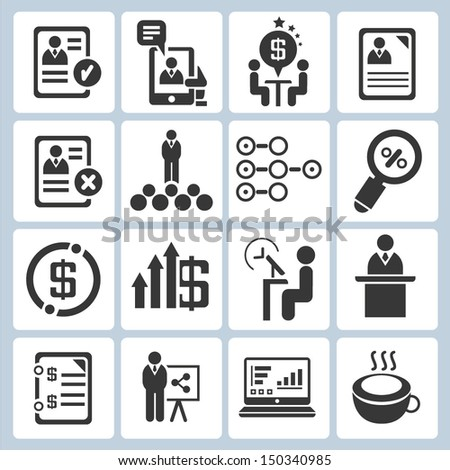 human resource management and business icons set, vector - stock vector