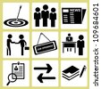 human resource management, personnel consultant manpower icon set - stock vector