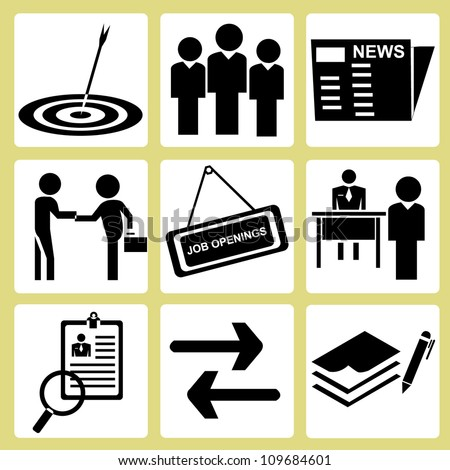 human resource management, personnel consultant manpower icon set