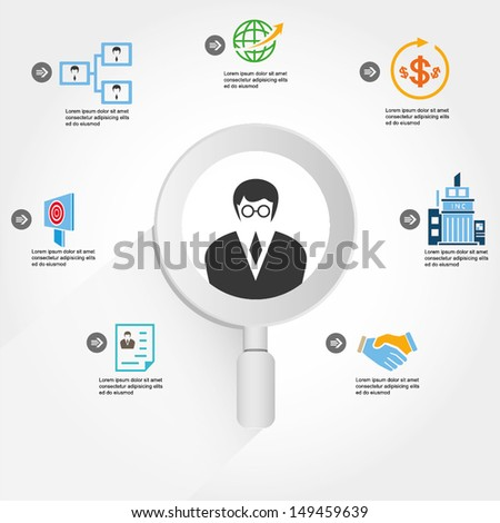 human resource, recruitment and business management info graphic, icons - stock vector
