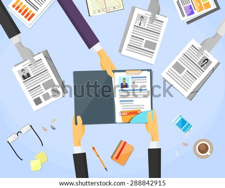 Human Resource Working Place Desk Documents Curriculum Vitae Recruitment Candidate Job Position, CV Profile Business People to Hire Vector Illustration - stock vector
