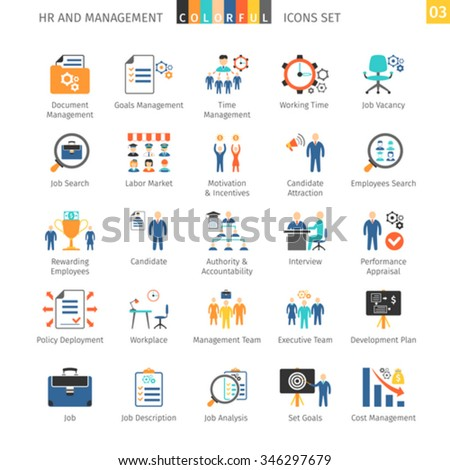 Human Resources And Management Flat Icons Set 03