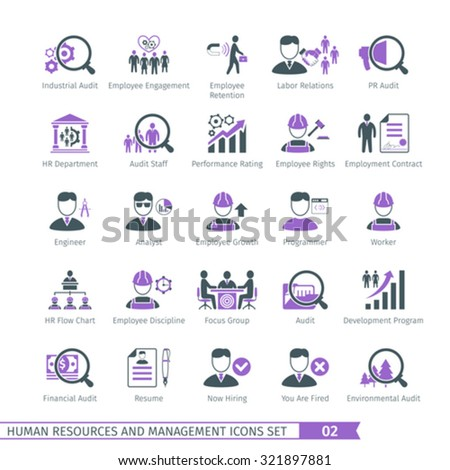 Human Resources And Management  Icons Set 02 - stock vector