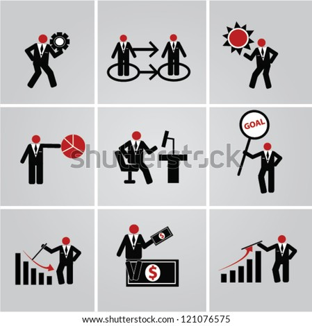 Human resources and management icons set,Vector - stock vector