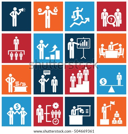 Human resources and management icons set vector design