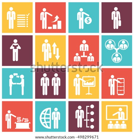 Human resources and management icons set vector illustration