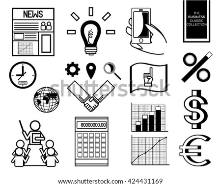 Human resources and management icons set, vector illustration, black and white, doodle - stock vector