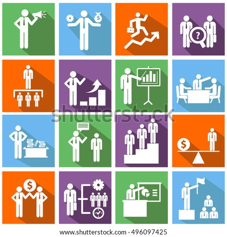 Human resources and management icons set. Vector ilustration.