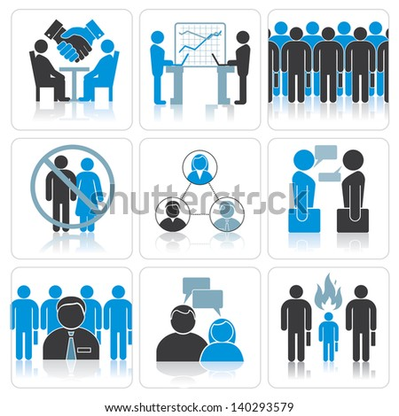 Human Resources and Management Vector Icons Set. - stock vector