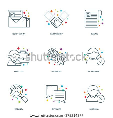 Human resources and partnership icons set, line style, line style - stock vector