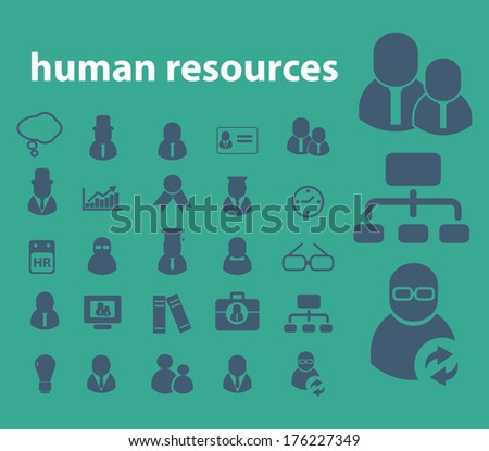 human resources, business management icons, signs set, vector - stock vector