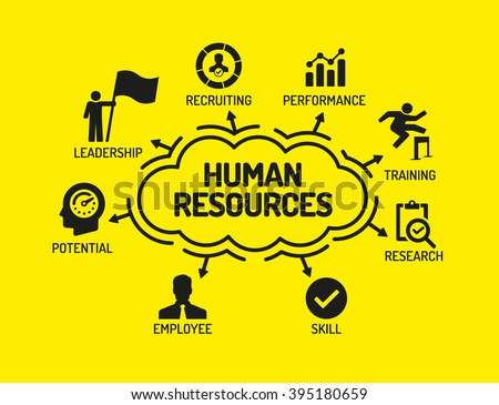 Human Resources. Chart with keywords and icons on yellow background - stock vector