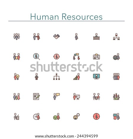 Human resources colored line icons set. Vector illustration. - stock vector