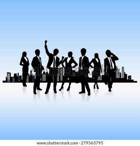 human resources concept - business people work team with city background - stock vector