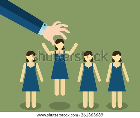 Human Resources concept. choosing the perfect candidate for the job. - stock vector