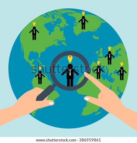Human resources hold a magnifying glass for choosing the right personal on globe for international best position.Vector illustration recruitment and job search concept. - stock vector