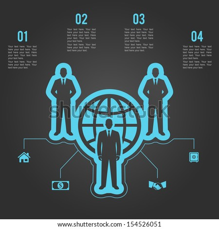human resources infographics. business people world team concept - stock vector