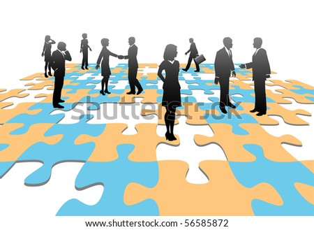 Human resources issues and other people issues and find solutions on jigsaw puzzle pieces. - stock vector