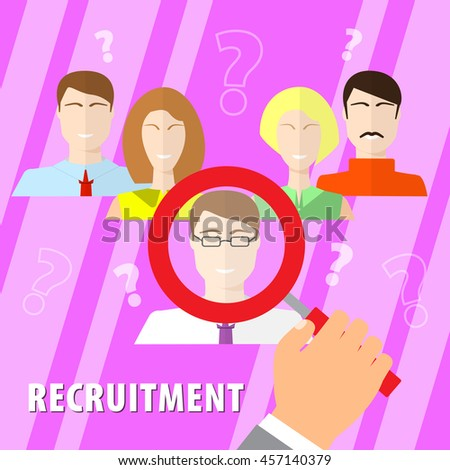 Human resources man woman personnel search selection. Selection of personnel. Recruiting agency, flat design. - stock vector