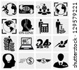 Human resources, Management, Money icons set. - stock vector