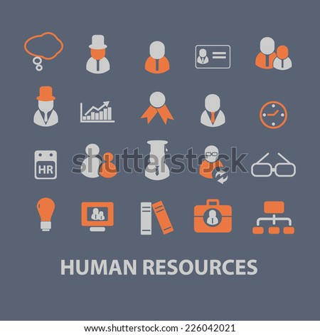 human resources, management, organization icons, signs, illustrations set, vector - stock vector