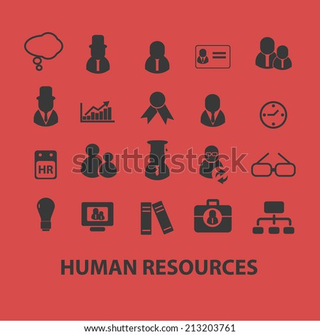 human resources, management, organization isolated icons, signs, symbols, illustrations, silhouettes, vectors set - stock vector
