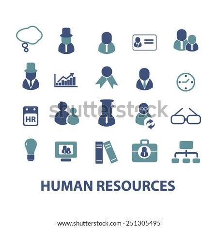 human resources, management, organization, structure isolated design flat icons, signs, illustrations vector set on background - stock vector