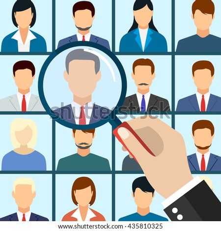 Human resources management select employee. Recruitment, concept of human resources management. CV application. Selecting staff. vector illustration in flat design - stock vector