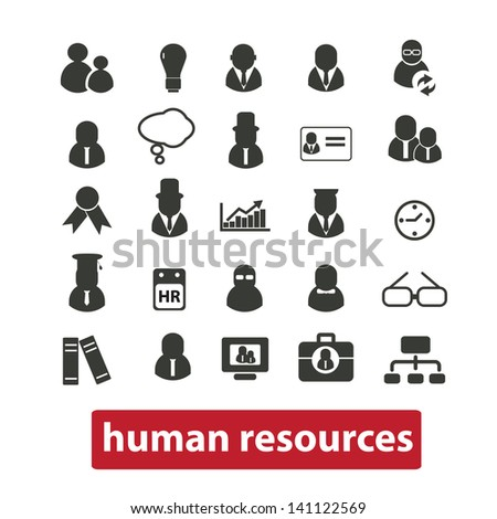 human resources, management, team, business icons, signs set, vector - stock vector