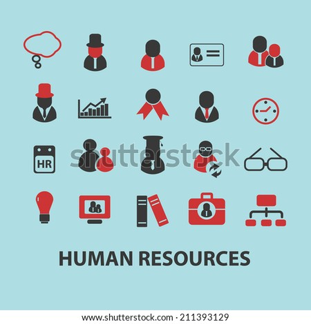 human resources, management, teamwork black isolated icons, signs, silhouettes, illustrations set, vector - stock vector