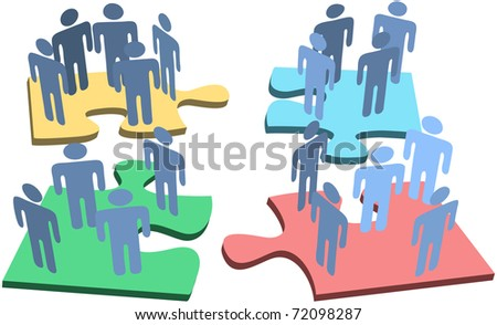 Human resources or social media people groups connect on network puzzle pieces - stock vector