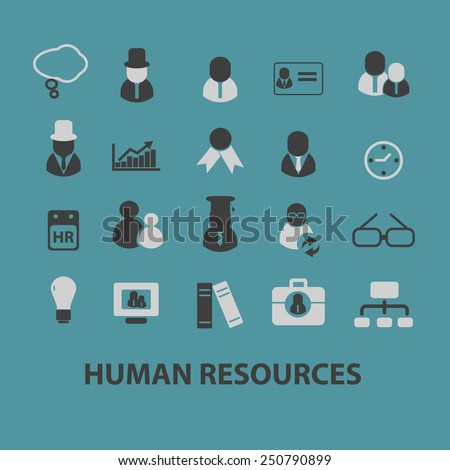 human resources, organization, management flat icons, signs, illustrations design concept vector set - stock vector