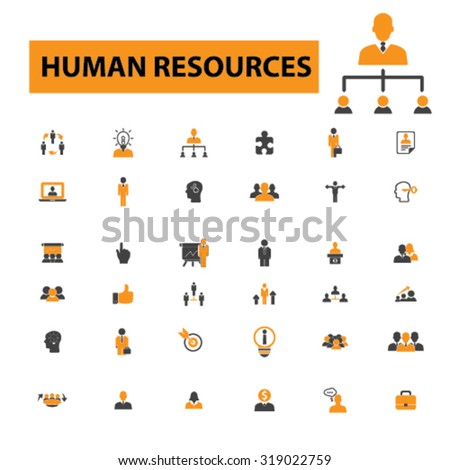 human resources, organization, management icons - stock vector