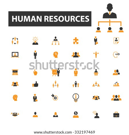 human resources, organization, management, people, avatar icon & sign concept vector set for infographics, website - stock vector