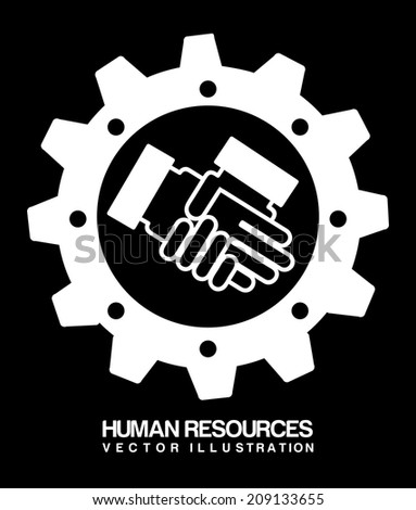 human resources over black background vector illustration - stock vector