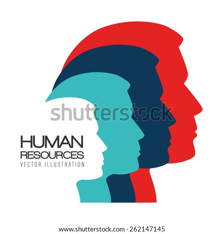 Human resources over white background, vector illustration. - stock vector