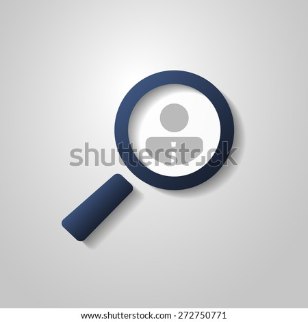 Human Resources - Personal Audit - Headhunter Symbol Design with Magnifying Icon - stock vector