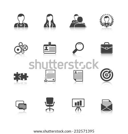 Human resources personnel selection strategy and professional people management black icons collection abstract isolated vector illustration - stock vector
