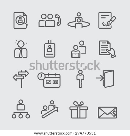 Human Resources with new staff line icon - stock vector