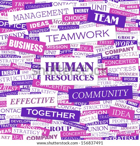 HUMAN RESOURCES. Word cloud illustration. Tag cloud concept collage. Vector text illustration. Seamless pattern. - stock vector